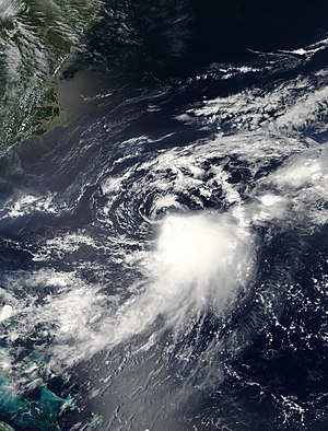 Tropical cyclone - Tropical Storm Franklin, an example of a strongly sheared tropical cyclone in the North Atlantic hurricane basin during 2005