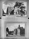 twee afbeeldingen- 1) tekening van kerk te well, 1786 2) aquarel van kasteel ammersoyen - ammerzoden - 20010523 - rce