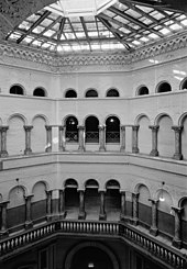 Interior of the rotunda showing its four floors and the skylight