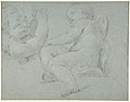 Two Putti Supporting the Lower Part of a Draped Figure (recto); Two Putti (verso) MET DP810084.jpg