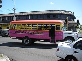 Transport in Samoa - Local bus in the capita Apia.