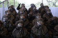 U.S. Air Force trainees assigned to Flight 572 prepare to enter the gas chamber during Basic Military Training at Lackland Air Force Base, Texas, July 27, 2006, as part of their Chemical Warfare training 060727-F-MJ260-029.jpg