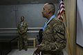 U.S. Army Staff Sgt. Renie Arana, right, with the 2nd Battalion, 7th Cavalry Regiment, 1st Cavalry Division, speaks after receiving an Audie Murphy Award at Bagram Airfield, Parwan province, Afghanistan, May 10 130510-A-XM609-051.jpg