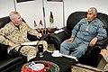 U.S. Marine Corps Maj. Gen. John A. Toolan Jr., left, the commander of the International Security Assistance Force Regional Command Southwest, hosts Afghan Uniformed Police Maj. Gen. Asmatullah Dawlatzai, the 120218-O-CU750-001.jpg