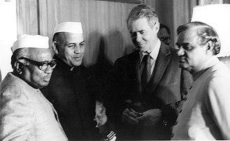 Jagjivan Ram - Left-right: Indian Defense Minister Jagjivan Ram, Indian Minister of Commerce Mohan Dharia, U.S. Secretary of State Cyrus Vance, and Indian Minister of external Affairs Atal Bihari Vajpayee