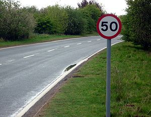 Road speed limits in the United Kingdom - Image: UK 50 mph speed limit sign on a single carriageway