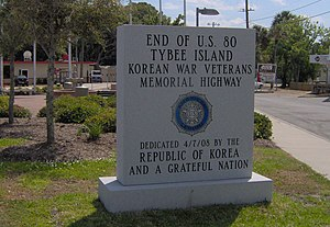 U.S. Route 80 - The end of US 80 on Tybee Island