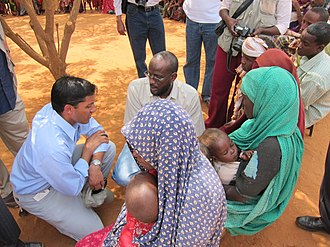 Rajiv Shah - USAID Administrator Rajiv Shah listens to the story of a young Somali woman who walked for 33 days with her children to reach Dadaab camp in Kenya.