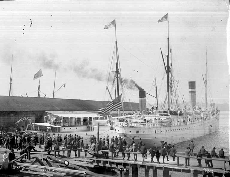 USAT ROSECRANS and LAWTON docked at the foot of University St in Seattle, preparing to transport US troops to China, 1900 (PEISER 26).jpeg
