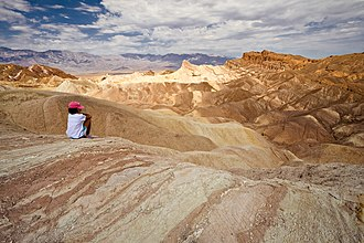 Amargosa Chaos - Manly Beacon and Red Cathedral viewed from Zabriskie Point