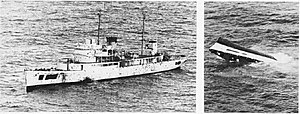 USCGC Coos Bay (WHEC-376) being sunk as a target in the Atlantic Ocean on 9 January 1968