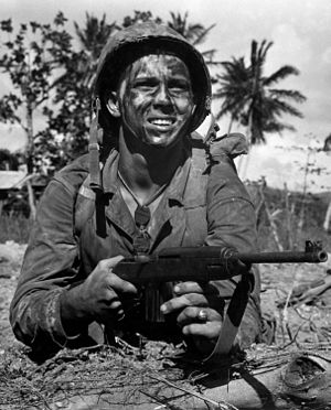 .30 Carbine - Marine with M1 carbine at Guam