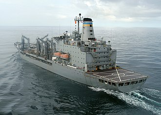 Military Sealift Command - A Combat Logistics Force (formerly the Naval Fleet Auxiliary Force) ship, USNS ''Kanawha'', bearing the blue-and-gold stripes on its stack