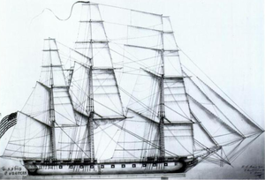 A drawing of a ship's sails. The ship has 3 masts in which all sails are set and full of wind. The bow of the ship is pointed to right of the frame.