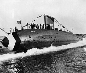 Underwater speed record - Image: USS Albacore (AGSS 569), launching 1953