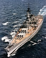 USS Wisconsin, photographed at sea in her 1980s configuration.