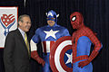 US Navy 050428-N-0295M-001 Secretary of Defense Donald Rumsfeld meets superheroes Captain America and Spider-Man during the unveiling of a comic book that will be distributed free to U.S. forces in Iraq and around the world.jpg