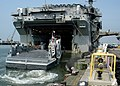 US Navy 050607-N-3666S-002 A Landing Craft Unit (LCU) used to transport Marines and equipment for various amphibious assault missions performs a stern gate marriage.jpg
