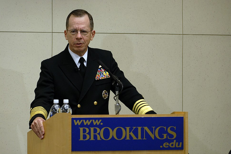 US Navy 070403-N-0696M-015 Chief of Naval Operations (CNO) Adm. Mike Mullen speaks at the Brookings Institution on the Navy%27s effort to formulate a new maritime strategy