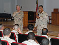 US Navy 071026-N-3768T-051 Chief of Naval Operations (CNO) Adm. Gary Roughead and Master Chief Petty Officer of the Navy (MCPON) Joe R. Campa Jr., field questions from Sailors as part of their tour of the Central Command area o.jpg