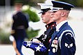 US Navy 080911-N-0696M-001 Members of a joint service honor guard prepare to raise the flag during the Pentagon Memorial dedication ceremony Sept. 11, 2008.jpg