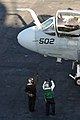 US Navy 081103-N-2344B-116 Sailors conduct a pre-flight check on an EA-6B Prowler assigned to the.jpg