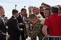US Navy 090227-M-7404B-004 U.S. President Barack Obama meets with service members and civilians at Marine Corps Air Station Cherry Point on his way to deliver remarks at U.S. Marine Corps Base Camp LeJune.jpg