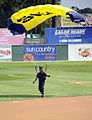 US Navy 100720-N-5366K-096 James Woods touches down after parachuting into the opening ceremony of a St. Paul Saints baseball game at Midway Stadium.jpg