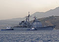 US Navy 101013-N-9063M-001 The guided-missile Cruiser USS Vella Gulf (CG-72) arrives at the Marathi NATO Pier Facility for a routine port visit to.jpg
