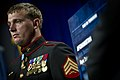 US Navy 110914-N-UH963-178 Medal of Honor recipient U.S. Marine Corps Sgt. Dakota Meyer stands at attention while his award citation is read during.jpg