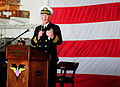 US Navy 111202-N-RG587-063 Capt. Bruce H. Lindsey delivers his farewell address to the crew after being relieved as commanding officer of the Nimit.jpg