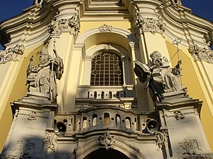 St. George's Cathedral, Lviv - St. Leo and St. Athanasius at the entrance to the Cathedral.