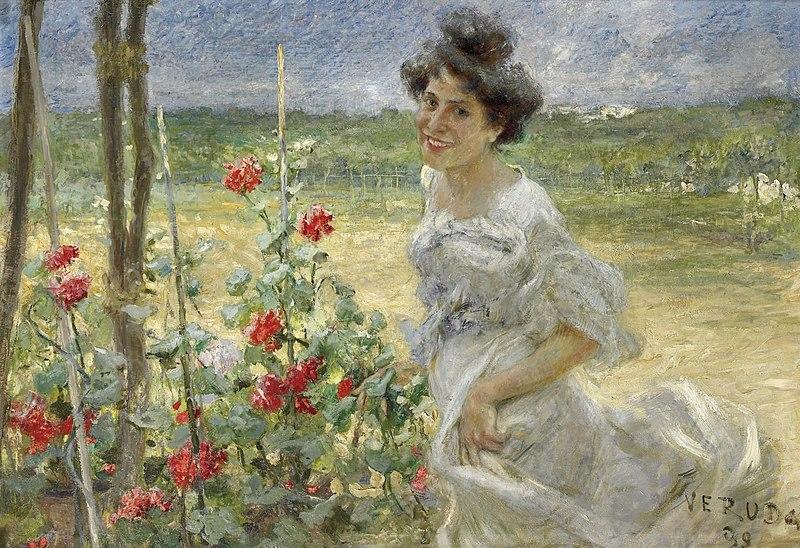 File:Umberto Veruda Junge Frau im Rosengarten.jpg