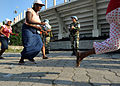 United Nations Peacekeepers from Argentina provide security at a food distribution site outside the National Stadium in Port-au-Prince, Haiti 100216-N-HX866-003.jpg