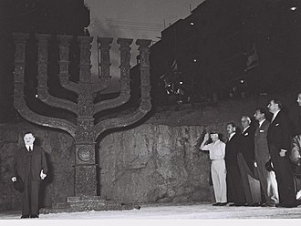 Knesset Menorah - Unveiling ceremony of the Knesset Menorah in 1956