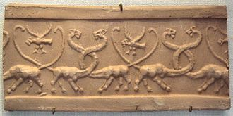 "Confronted animals - Cylinder seal of Uruk displaying a confronted-lioness motif sometimes described as a ""serpopard"" - 3000 BC - Louvre"