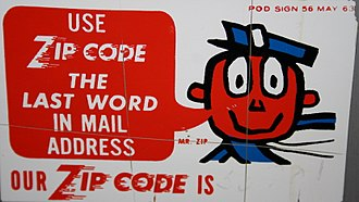 ZIP Code - A 1963 U.S. Post Office sign featuring Mr. ZIP.