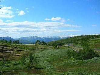 Hemnes - View from Korgfjellet mountain in Hemnes (about 400 m amsl) towards Vefsn