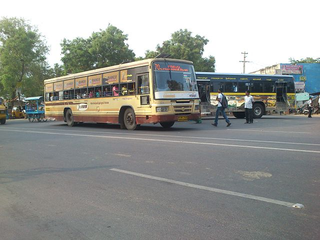 A TNSTC CBE bus at Vadavalli in Coimbatore.