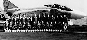 VF-33 aviators with F-4J on USS Independence (CVA-62) c1972.jpg