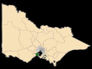 Electoral district of Bellarine - Location of Bellarine (dark green) in Victoria