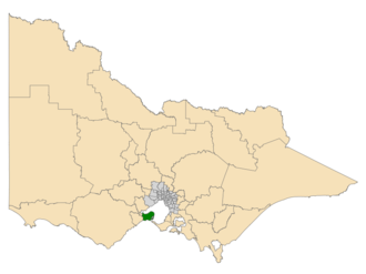 Electoral district of Bellarine - Location of Bellarine (dark green) in Victoria
