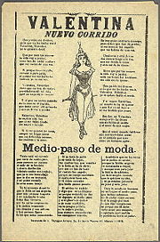 An example of a corrido song sheet or sheet music, this one from 1915 at the height of the Mexican Revolution