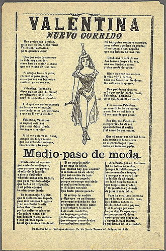 Corrido - An example of a corrido song sheet or sheet music, this one from 1915 at the height of the Mexican Revolution