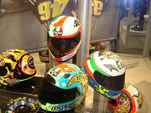 Motorcycle helmet - A collection of motorcycle helmets worn by Moto GP racer Valentino Rossi