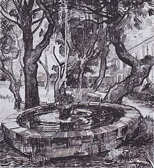 Fountain in the garden of the hospital of Saint-Paul
