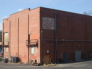 "Variety Playhouse - View from behind the building showing the ""Euclid Theatre Entrance"" sign"