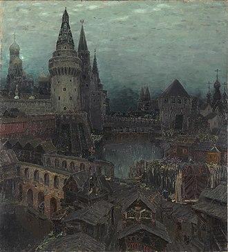 Neglinnaya River - Image: Vasnetsov Na rassvete u Voskresenskogo mosta