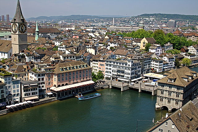 Zurich By Davide Restivo (originally posted to Flickr as Veduta di Zurigo #2) [CC-BY-SA-2.0 (https://creativecommons.org/licenses/by-sa/2.0)], via Wikimedia Commons