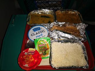Dahi (curd) - Dinner served with curd on Shatabdi Express train